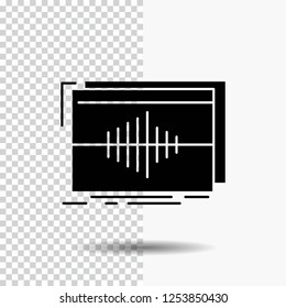 Audio, frequency, hertz, sequence, wave Glyph Icon on Transparent Background. Black Icon