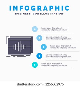 Audio, frequency, hertz, sequence, wave Infographics Template for Website and Presentation. GLyph Gray icon with Blue infographic style vector illustration.