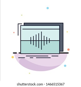 Audio, frequency, hertz, sequence, wave Flat Color Icon Vector. Vector Icon Template background
