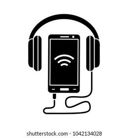 audio headphone and mobile icon