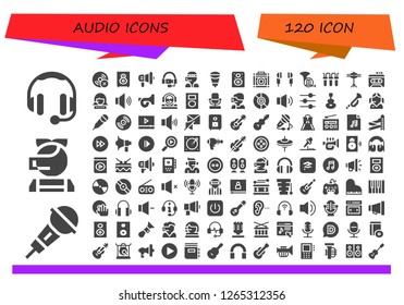 audio icon set. 120 filled audio icons. Simple modern icons about  - Headphones, Microphone, Call center, Vynil, Loudspeaker, Megaphone, Speaker, Amplifier, Earphones, French horn