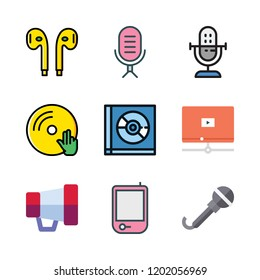 audio icon set. vector set about radio, vinyl, microphone and video player icons set.