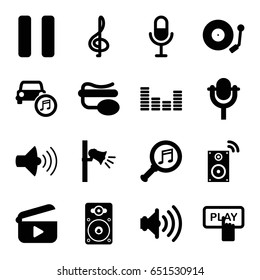 Audio icons set. set of 16 audio filled icons such as finger pressing play button, volume, microphone, pin microphone, pause, equalizer, loudspeaker, megaphone, car music