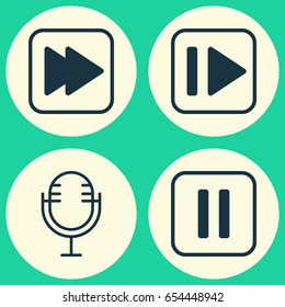 Audio Icons Set. Collection Of Following Music, Following Song, Mike And Other Elements. Also Includes Symbols Such As Pause, Button, Microphone.