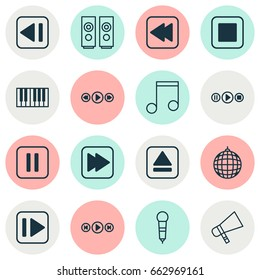 Audio Icons Set. Collection Of Following Song, Mute Song, Piano And Other Elements. Also Includes Symbols Such As Ball, Music, Party.