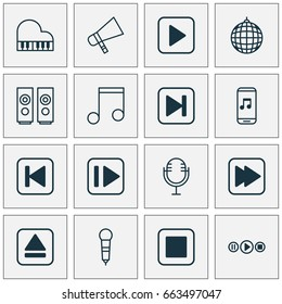 Audio Icons Set. Collection Of Following Song, Extract Device, Stop Button And Other Elements. Also Includes Symbols Such As Audio, Piano, Microphone.
