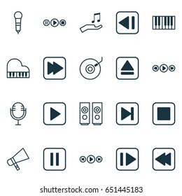 Audio Icons Set. Collection Of Gramophone, Last Song, Audio Buttons And Other Elements. Also Includes Symbols Such As Megaphone, Control, Instrument.