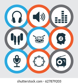 Audio Icons Set. Collection Of Meloman, Mike, Tuner And Other Elements. Also Includes Symbols Such As Sound, Timbrel, Earphone.