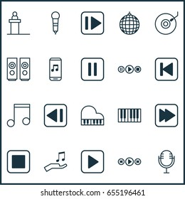 Audio Icons Set. Collection Of Note Donate, Following Song, Mute Song And Other Elements. Also Includes Symbols Such As Start, Note, Disco.
