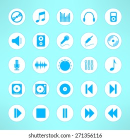 Audio icons set made in clean and simple design. Music signs. Vector illustration.