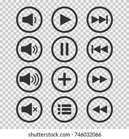 Audio icons. Sound buttons. Play button. Pause sign. Symbol for web or app. Vector illustration on transparent background.