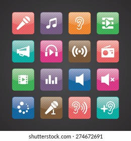 audio icons universal set for web and mobile