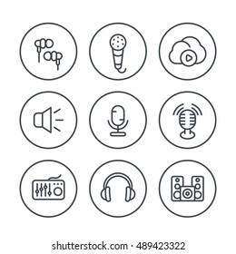audio line icons in circles, vector illustration