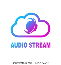 Audio loudspeaker in cloud isolated on white background. Color Vector illustration. EPS 10