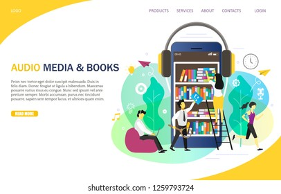 Audio media and books landing page website template. Vector illustration of smartphone with books and headphones, people listening to audiobooks from mobile device and computer. E-learning concept.