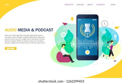 Audio media and podcast landing page website template. Vector illustration of smartphone with microphone on screen, people listening to podcast from mobile and computer while working or doing sport.