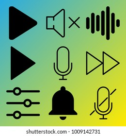 Audio Media vector icon set consisting of 9 icons about voice record, muted, play button, play, fast forward button, microphone, fast forward, notification, sound controller and sound bars