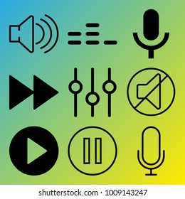 Audio Media vector icon set consisting of 9 icons about fast forward button, mute, play button, equalizer, microphone, pause button, pause, sound, voice record and sound controller