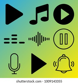 Audio Media vector icon set consisting of 9 icons about equalizer, play, frequency, sound bar, play button, bell, pause, music, notification and sound bars