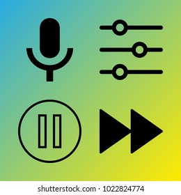 Audio Media vector icon set consisting of 4 icons about voice record, pause, fast forward, pause button, microphone, fast forward button and sound controller
