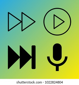 Audio Media vector icon set consisting of 4 icons about fast forward button, play, fast forward, microphone, play button and voice record