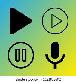 Audio Media vector icon set consisting of 4 icons about pause, microphone, pause button, play button, play and voice record