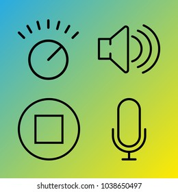 Audio Media vector icon set consisting of 4 icons about stop, sound, volume control, voice record, stop button and microphone