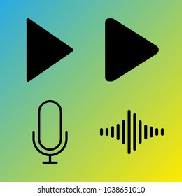 Audio Media vector icon set consisting of 4 icons about play, play button, sound bar, sound bars, microphone, frequency and voice record