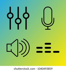Audio Media vector icon set consisting of 4 icons about microphone, voice record, sound, sound controller and equalizer