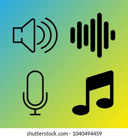 Audio Media vector icon set consisting of 4 icons about voice record, music, note, sound, sound bar, frequency, microphone, sound bars and melody
