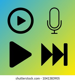 Audio Media vector icon set consisting of 4 icons about fast forward, play button, microphone, play and voice record