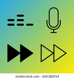 Audio Media vector icon set consisting of 4 icons about equalizer, fast forward button, microphone, fast forward and voice record