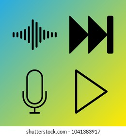 Audio Media vector icon set consisting of 4 icons about sound bars, sound bar, voice record, fast forward, play, frequency, play button and microphone