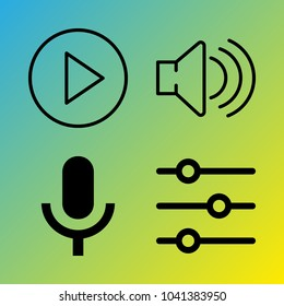 Audio Media vector icon set consisting of 4 icons about sound controller, sound, play button, play, microphone and voice record