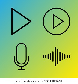 Audio Media vector icon set consisting of 4 icons about microphone, sound bar, voice record, sound bars, play button, frequency and play