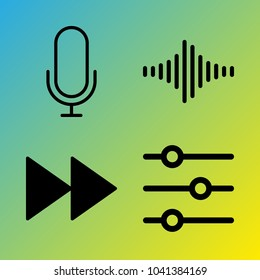 Audio Media vector icon set consisting of 4 icons about voice record, sound bar, microphone, fast forward button, sound controller, sound bars, frequency and fast forward