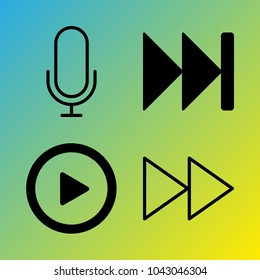 Audio Media vector icon set consisting of 4 icons about play button, voice record, fast forward, fast forward button, microphone and play