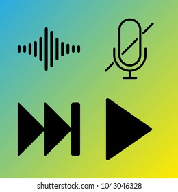 Audio Media vector icon set consisting of 4 icons about play, sound bars, fast forward, voice record, microphone, frequency, play button, sound bar, mute and muted