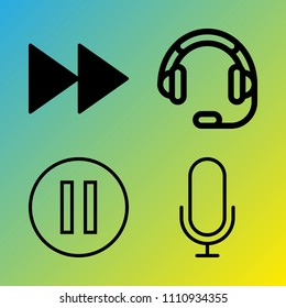 Audio Media vector icon set consisting of 4 icons about display, microphone, shiny, empty, voice record, tech, desk, centre, reflection and highway