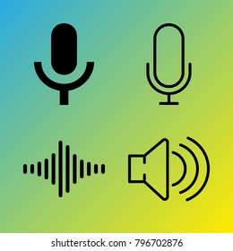 Audio Media vector icon set consisting of 4 icons about frequency, sound bars, sound, sound bar, voice record and microphone