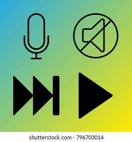 Audio Media vector icon set consisting of 4 icons about play button, fast forward, sound, play, mute, microphone and voice record