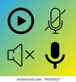 Audio Media vector icon set consisting of 4 icons about play, muted, sound, play button, voice record, microphone and mute
