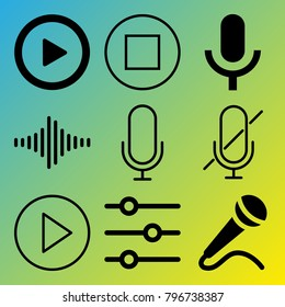 Audio Media vector icon set consisting of 9 icons about sound controller, mute, stop, frequency, microphone, voice record, muted, sound bar, play and play button