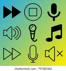 Audio Media vector icon set consisting of 9 icons about mute, fast forward, voice record, fast forward button, sound, melody, microphone, stop button, music and stop