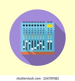 Audio mixer 8 channels icon. Flat design long shadow. Vector illustration.