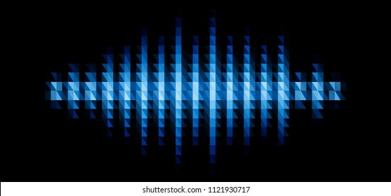 Audio or music blue shiny sound waveform with triangular light filter with colorful triangles for party poster or medical equipment cover