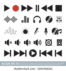 Audio Music note flat icon vector template