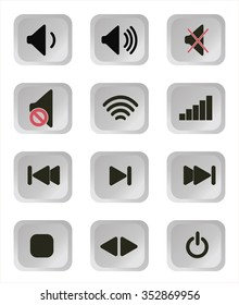 Audio music player black buttons icon set vector illustration