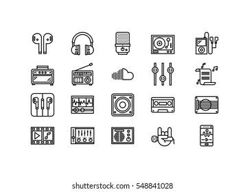 audio music tools icons set