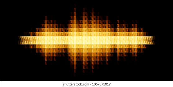 Audio or music yellow shiny sound waveform with triangular light filter with colorful triangles for party poster or medical equipment cover